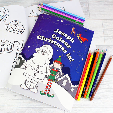 Personalised It's Christmas Elf Colouring Set Gift