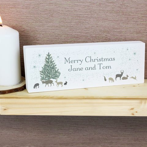 Personalised Winter's Night Mantel Block