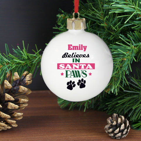 Personalised Santa Paws Dog Christmas Bauble