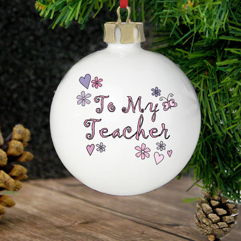 Personalised Flowers Teacher Bauble Present