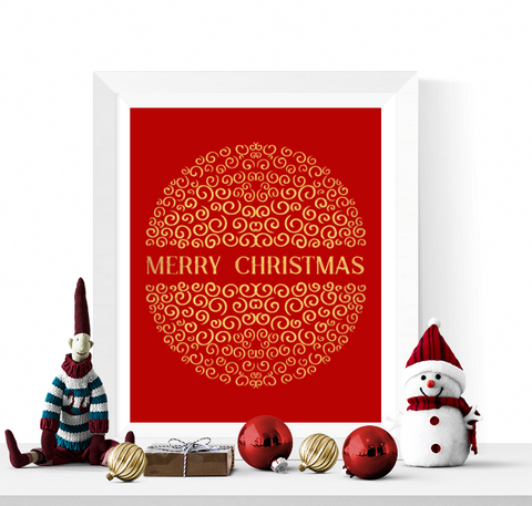 Decorative Merry Christmas Art Printable Red and Gold