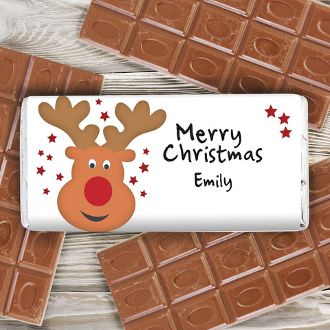 Personalised Reindeer Chocolate Bar Gift