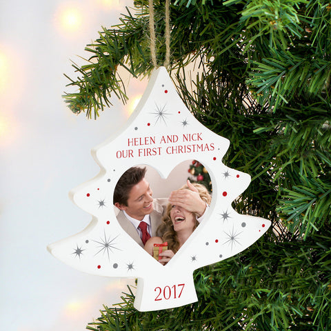 Personalised Photo Frame Christmas Tree Decoration