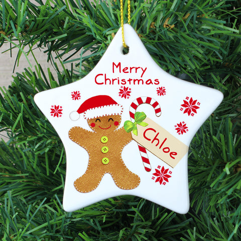Personalised Felt Stitch Gingerbread Man Ceramic Star Decoration Gift