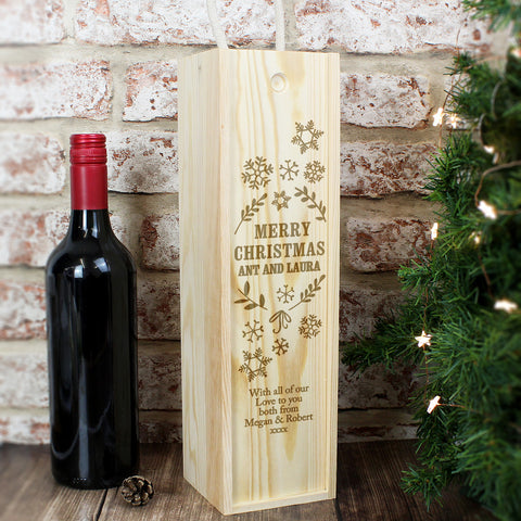 Personalised Wine Box - Christmas Frost Design
