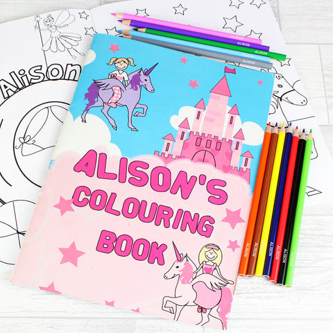 Personalised Princess Colouring Set Gift