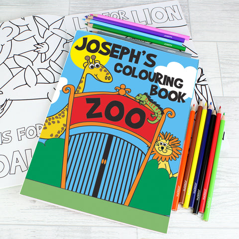 Personalised Zoo Colouring Set Gift
