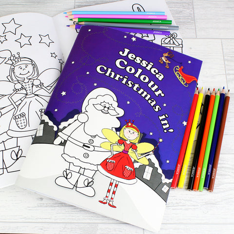 Personalised It's Christmas Fairy Colouring Set Present
