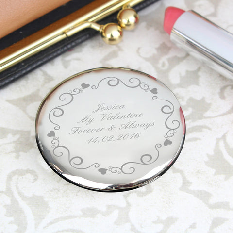 Personalised Ornate Swirl Compact Mirror Gift