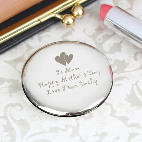 Personalised Hearts Round Compact Mirror Gift
