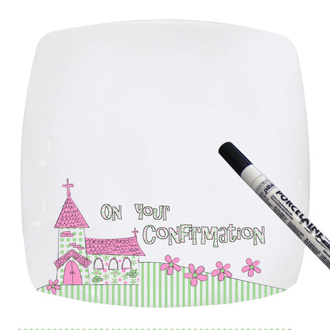 Pink Confirmation Church Message Plate Gift