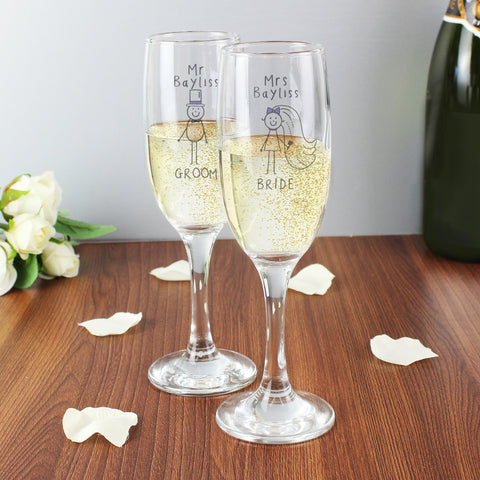 Personalised Purple Ronnie Mr & Mrs Champagne Flutes