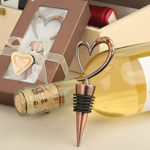 Copper Heart Bottle Stopper Favour 6PK