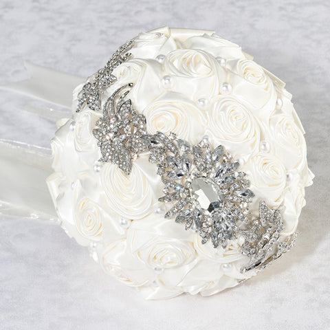 Cream Pearl and Rhinestone Bridal Bouquet