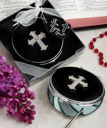 Cross Design Compact Mirror Favours