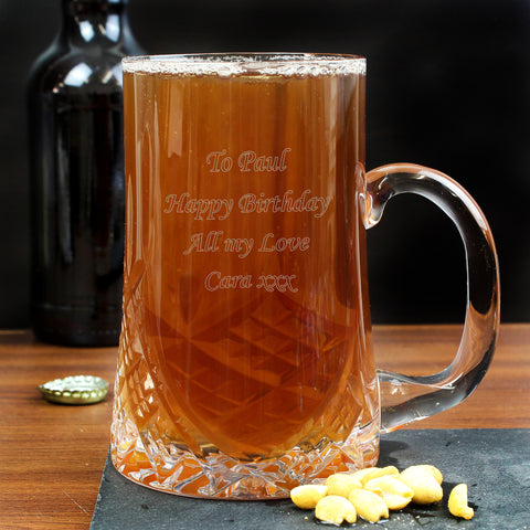 Personalised Pint Crystal Tankard Gift