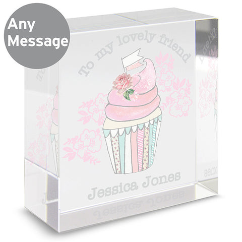 Personalised Vintage Cupcake Crystal Block Medium