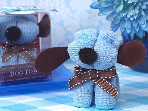 Cute Blue Puppy Towel Favour 6PK