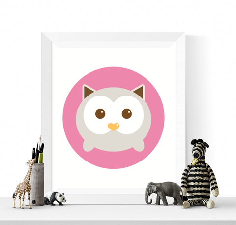 Cute Owl Nursery Art