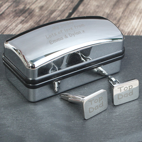 Top Dad Cufflinks and Personalised Case Gift
