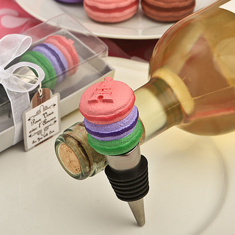 Delicious Macaron Bottle Stopper Favour 6PK