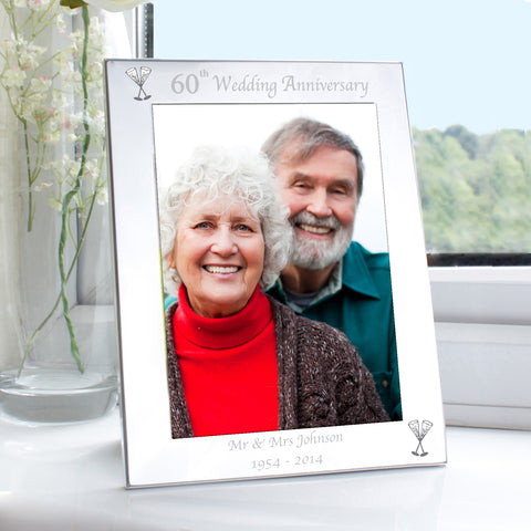 Personalised Silver 60th Wedding Anniversary Photo Frame Present