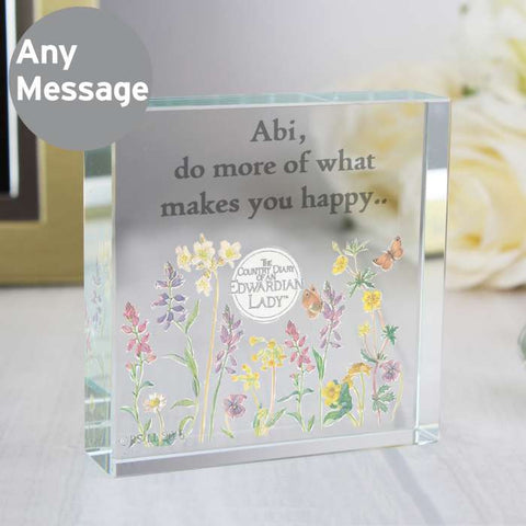 Personalised Country Diary Crystal Block