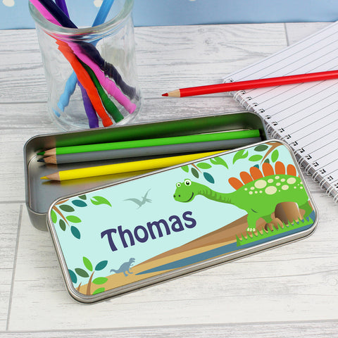 Personalised Dinosaur Pencil Tin with Colouring Pencils