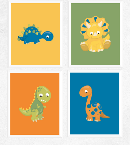 Cute Dinosaur Art Printables Set of 4
