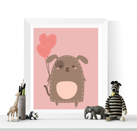Cute Dog with Balloons Printable
