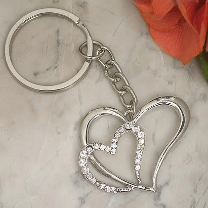 Double Heart Key Ring Favour 6PK