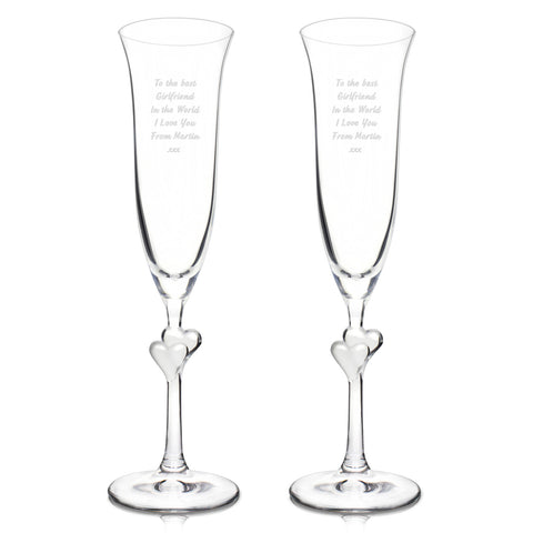 Personalised Clear Heart Champagne Flutes Set of 2
