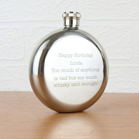 Personalised Any Message Stainless Steel Round Hip Flask Gift