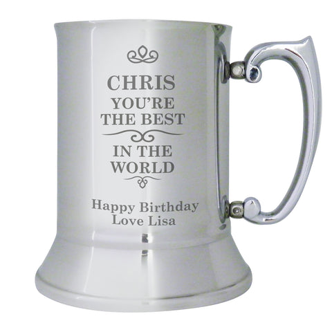 Personalised Best in The World Stainless Steel Tankard Gift