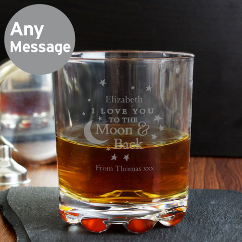 Personalised To the Moon and Back Whisky Glass