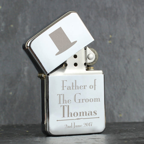 Personalised Decorative Wedding Father of the Groom Lighter Gift