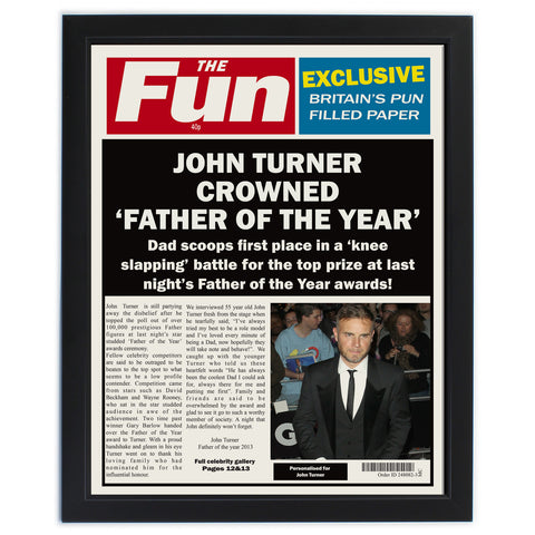 Personalised The Fun Spoof Newspaper Dad Framed Print Gift