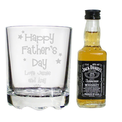 Personalised Happy Father's Day Glass and Bourbon Whisky Miniature Set Gift