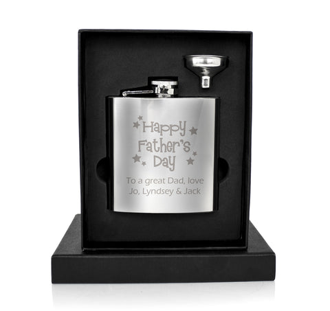Personalised Happy Father's Day Stars Hip Flask Gift