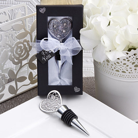 Filigree Heart Bottle Stopper Favour 6PK
