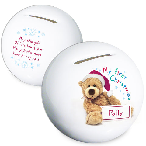 Personalised Teddy 1st Christmas Money Box Gift