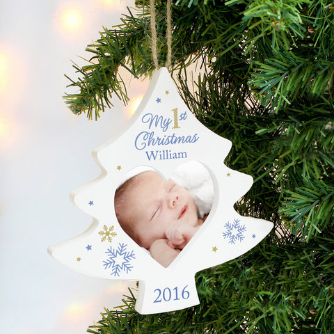 Personalised Photo Frame My 1st Christmas Tree Decoration Blue