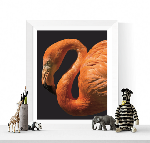 Flamingo Art Printable Navy