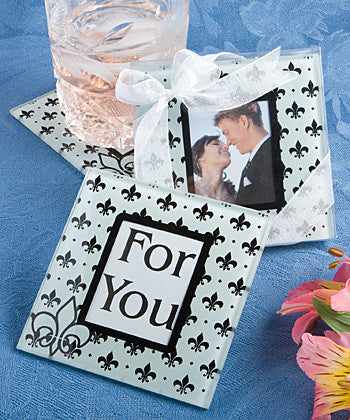 Fleur de Lis Glass Photo Coaster Favours