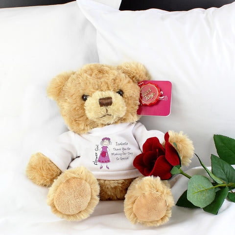 Personalised Cartoon Flower Girl Teddy Bear Gift