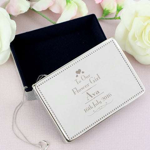 Personalised Decorative Wedding Flower Girl Jewellery Box Gift