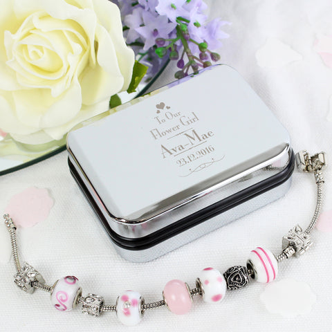 Personalised Flower Girl Silver Box and Pink 18cm Charm Bracelet Gift