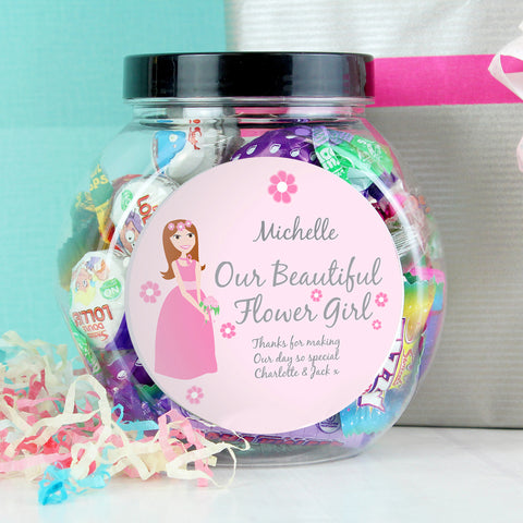 Personalised Fabulous Flower Girl Sweet Jar Gift