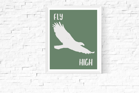Fly High Eagle Green Art Printable