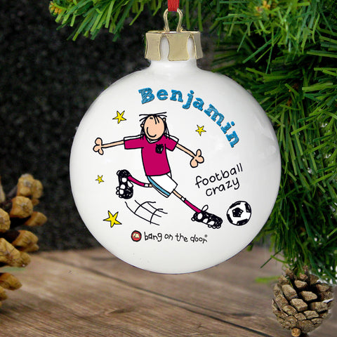 Personalised Bang on the Door Football Crazy Christmas Bauble